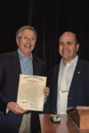 State Representative Steve Riggs presents legislative citation to Dr. George Herring at KATH conference, September 15, 2012