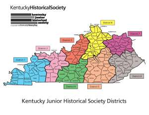Kentucky state map showing KJHS districts 1-8