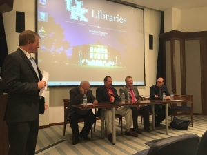 Brent Taylor leading panel of high school teachers from the far western part of KY (Jarrett Nance) eastern KY (Howard Mundy) along with a professor for undergraduates (Jim Klotter) and professional school (Josh Douglas) about the complexities of teaching history and govt during these presidential election times.