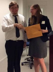 Kody Ruark, University of Kentucky, wins Clark Award — Megan Mummey congratulates him