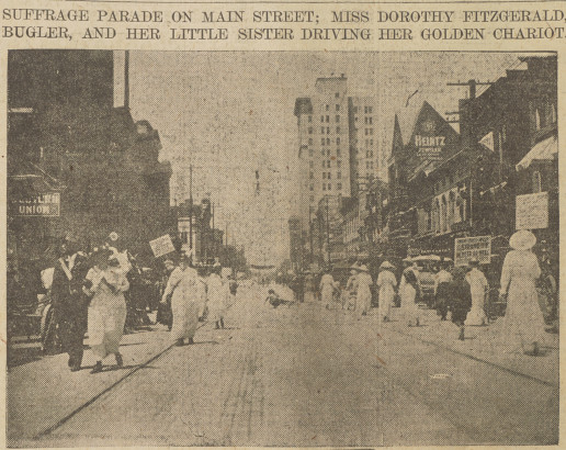 photo of suffragists marching on both sides of the street